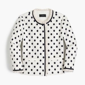 J. Crew Jacket Polka-Dot Textured Tweed White Navy